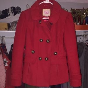women's red peacoat